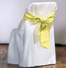 White Cover Yellow Sash Chair Cover