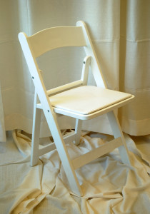 White Resin Folding Chair with Padded Seat