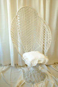 Fanback White Whicker Chair